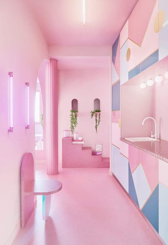 Кухня трохи розбавляє тотальну рожеву гаму