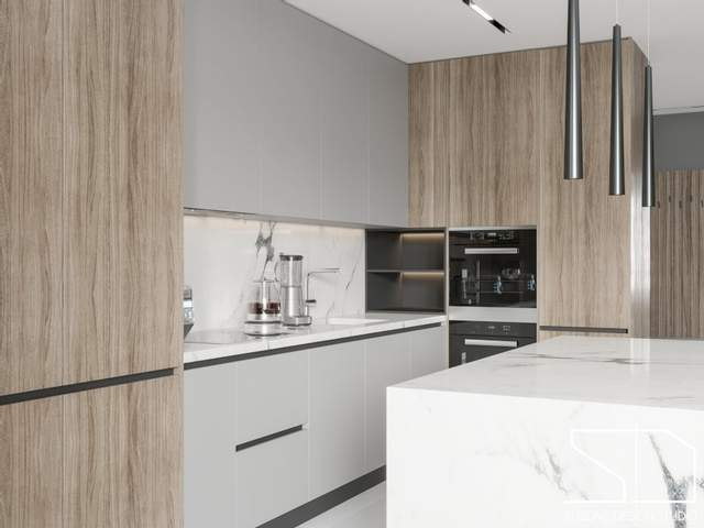 Кухня з сучасними дерев'яними фасадами