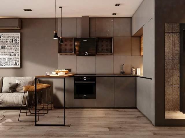 Однокомнатную квартиру можно оформить в оттенках коричневого