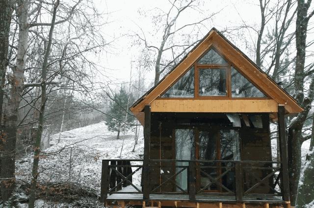Дерев'яний будинок в лісі