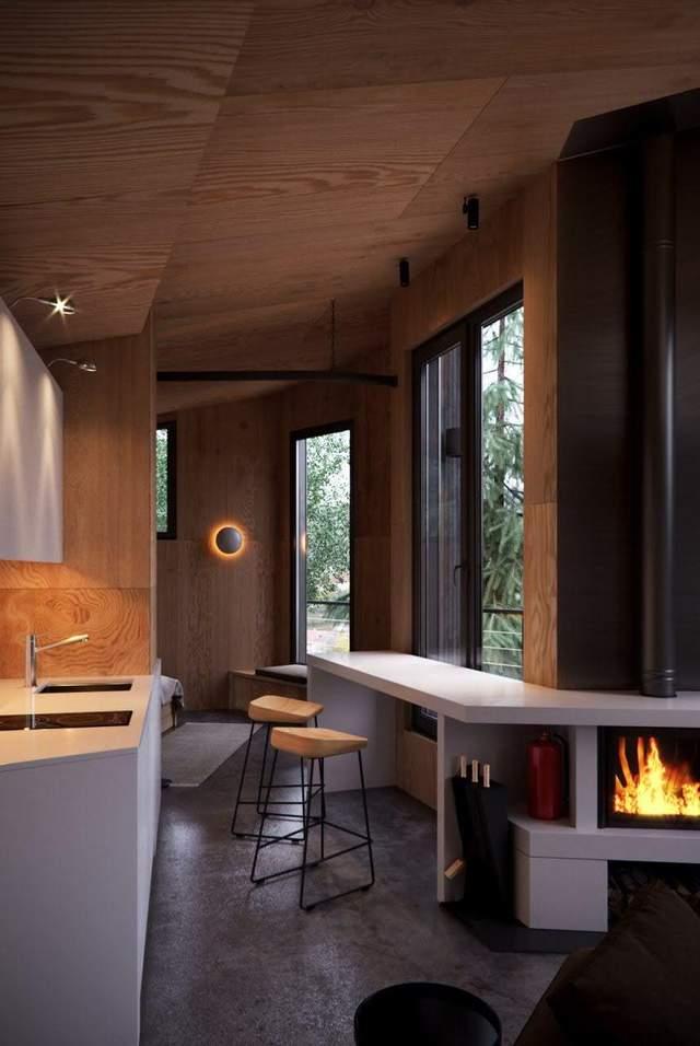 Затишна кухня з барною стійкою у стилі скандинавський мінімалізм