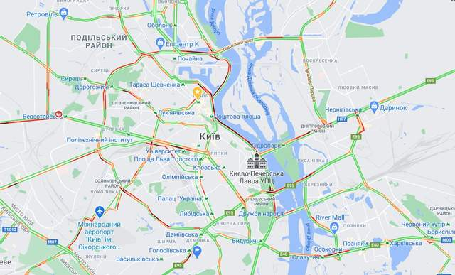 Затори у Києві 11 січня / Скриншот