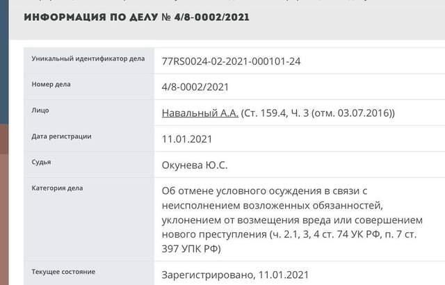 Справа Ів Роше, Нвальний, Федеральна служба виконання покарань, ФСИН, зміна умовного терміну на реальний