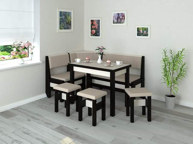 Замість кухонного куточка краще оберіть невеликий стіл та два-три стільці