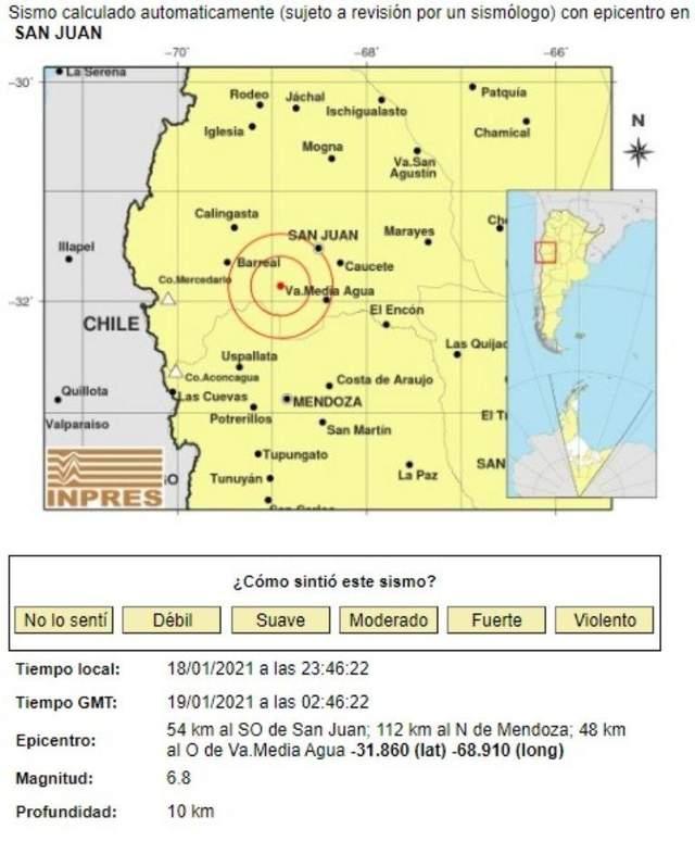 Землетрус, Аргентина, 19 січня 2021, Сан-Хуан, стихійні лиха