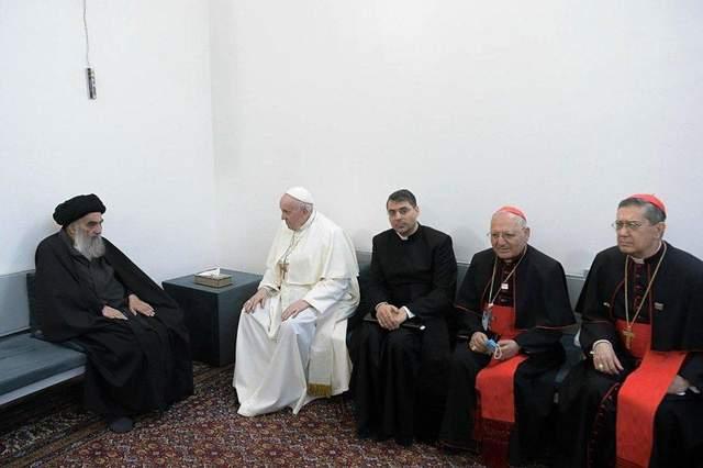 Ірак, Папа Римський Франциск, лідер шиїтів,  аятола Алі ас-Сістані, християнство, мусульмани, іслам