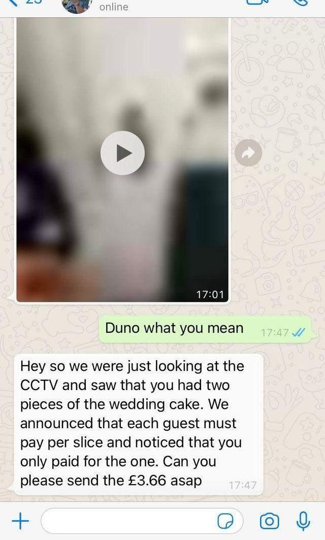 Повідомлення, яке надіслали гостю наречені після весілля