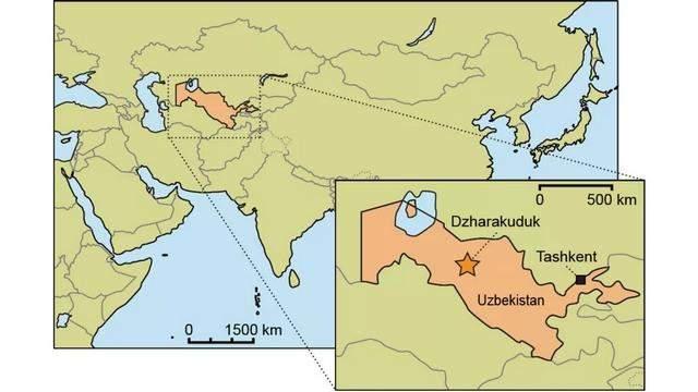 Ця карта показує місце, де знайшли скелет динозавтра