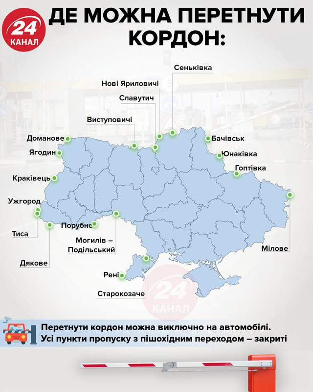 де можна перетнути кордон України