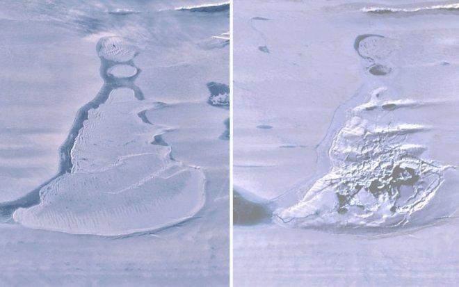 Супутникві знімки до та після зникнення води