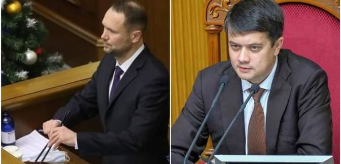 """Присяга під крики """"Ганьба"""" і спільні селфі: Разумков прогнав Шкарлета з трибуни Ради – відео"""