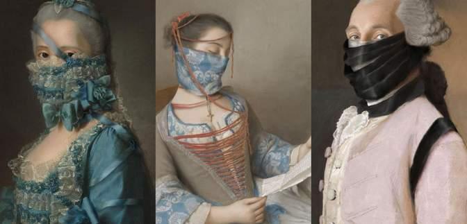 У стилі пандемії: художник доповнює старовинні портрети стильними масками