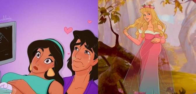 Художниця розповідає про свою вагітність через принцес Disney: кумедні фото