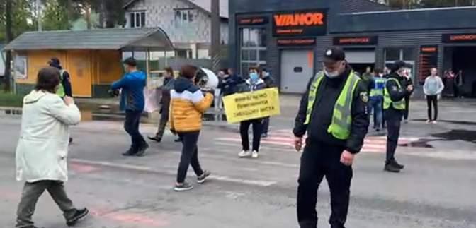 Виступають проти забудов: під Києвом люди перекрили Варшавську трасу