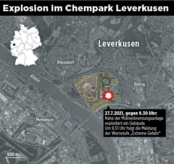 Місце вибуху в Леверкузені