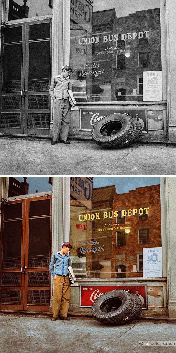 Ожидая автобус, 1943