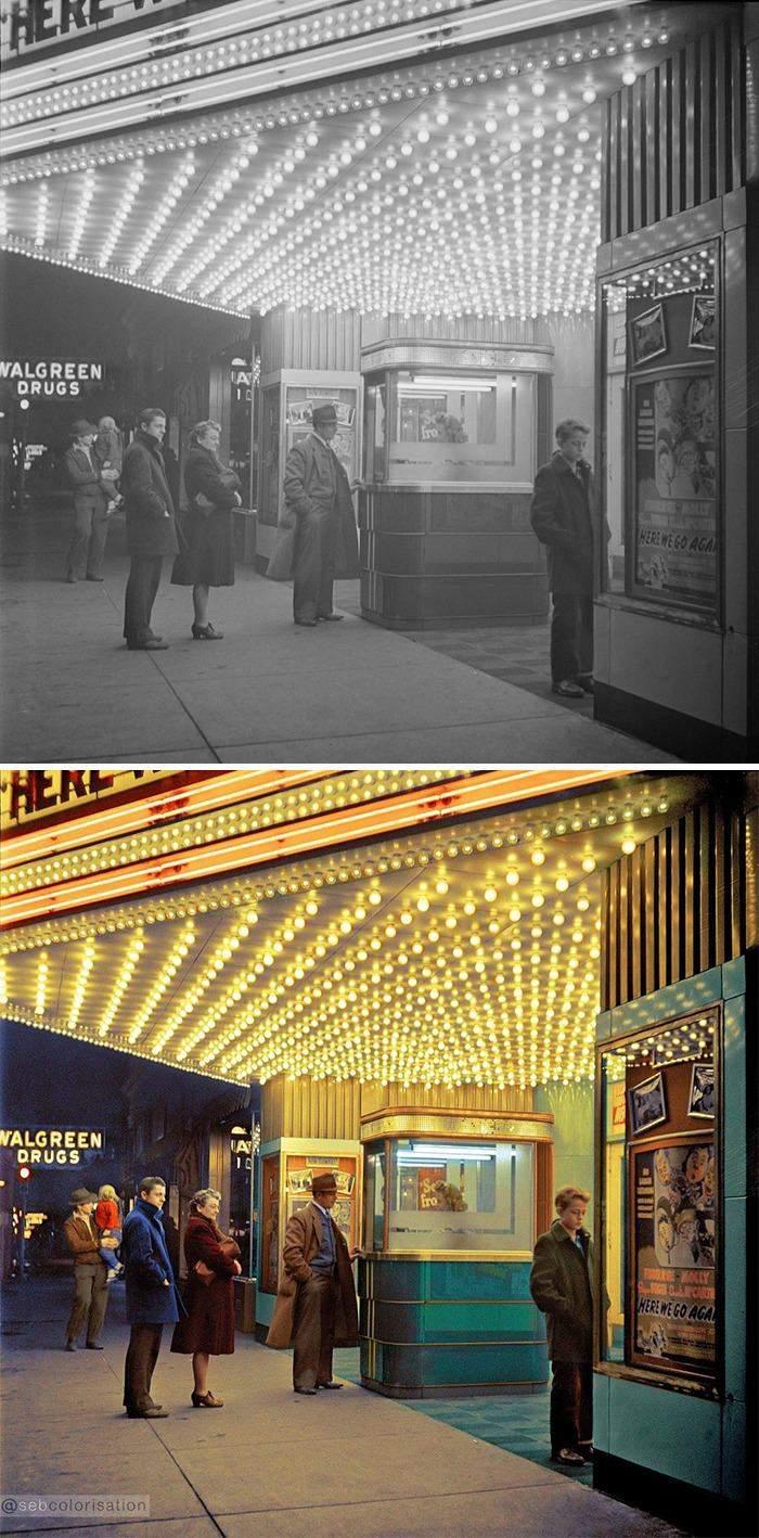 Иллинойс.  Семья Сенис, что идет в кино, Джек Делано, февраль 1943