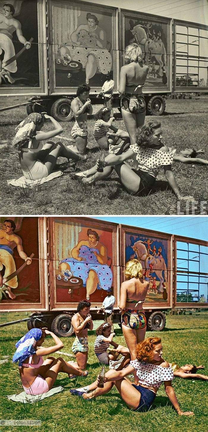 Цирковые артистки в Сарасоте, штат Флорида, Нина Лин, 1949