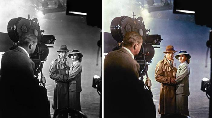 Бергман, Хамфри Богарт и Майкл Кертис на съемках