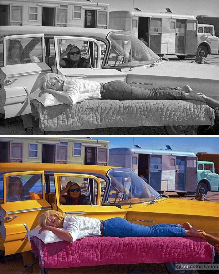 Мэрилин Монро отдыхает на съемочной площадке,