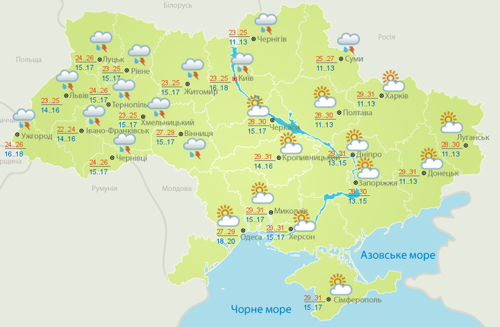 Прогноз погоди на 24 серпня: у День Незалежності дощитиме, але буде тепло