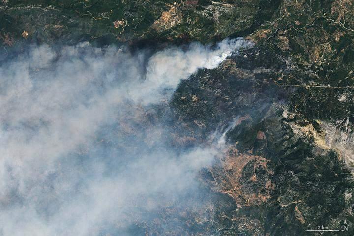Пожежі у Туреччині з космосу
