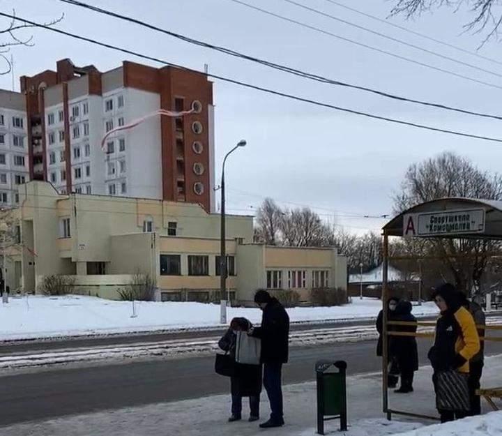 Вітебськ. протести, Білорусь, 31 січня 2021, біло-червоний прапор