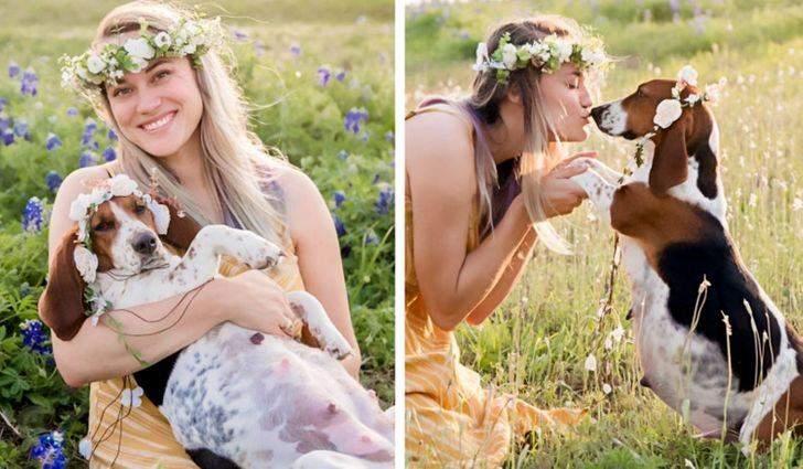 Дівчина замовила вагітну фотосесію зі своєю собакою, яка готується стати мамою