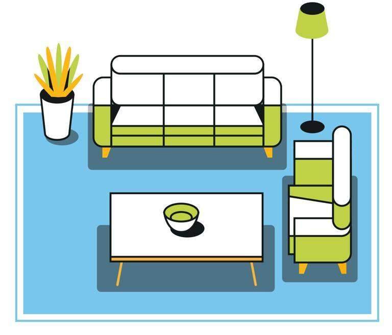 Як розташувати килим у вітальні