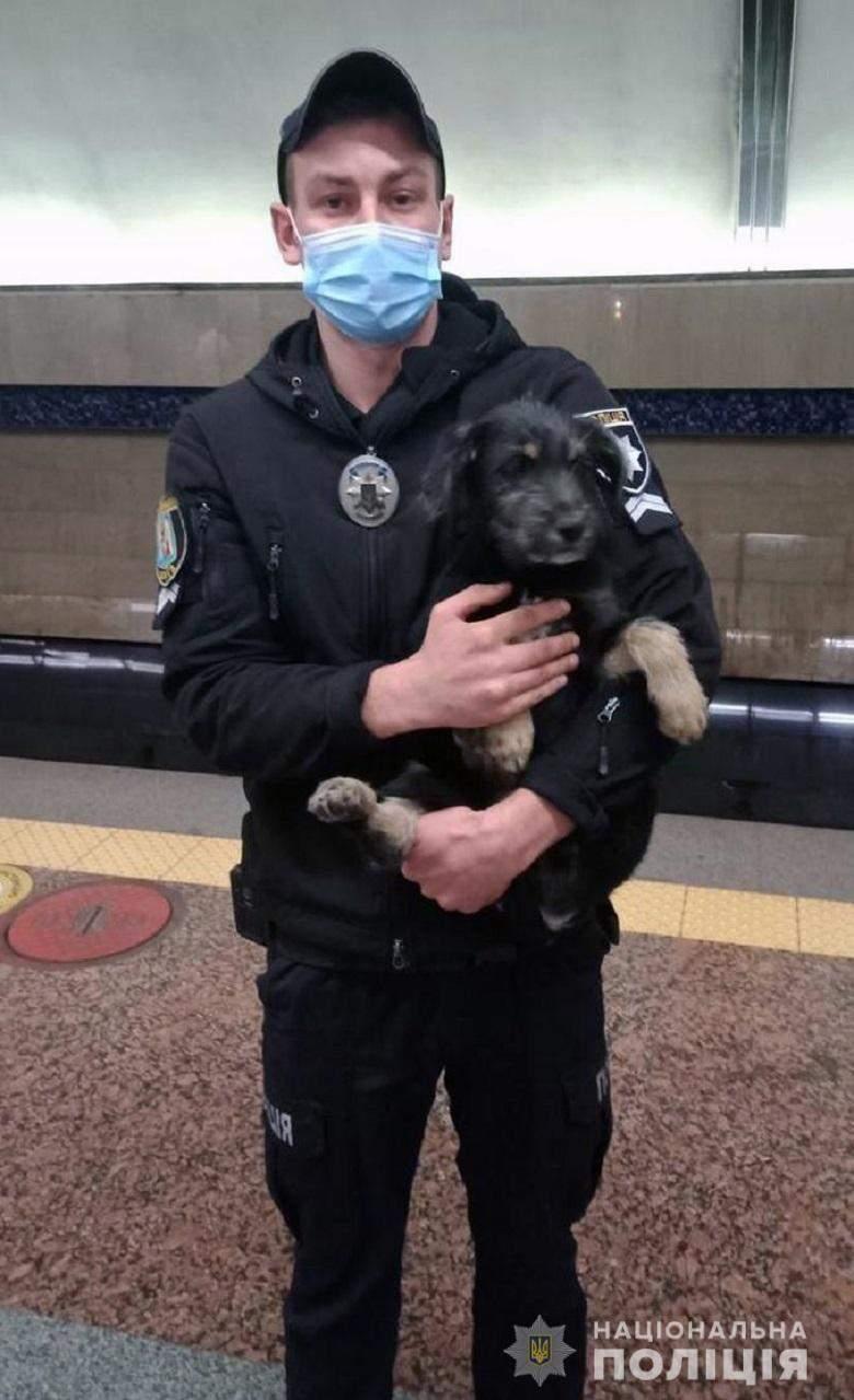 Поліція, Київ, метро, собака, Бориспільска, порятунок