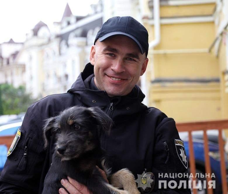 Коп, поліція, цуценя, метро Бориспільська, порятунок собаки