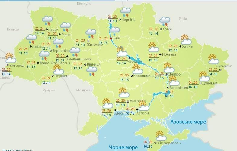 Погода на 1 серпня