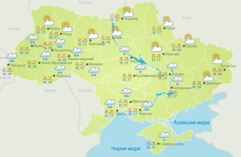 Прогноз погоди на 19 червня: в Україні обіцяють до +30, однак зливи не вщухатимуть
