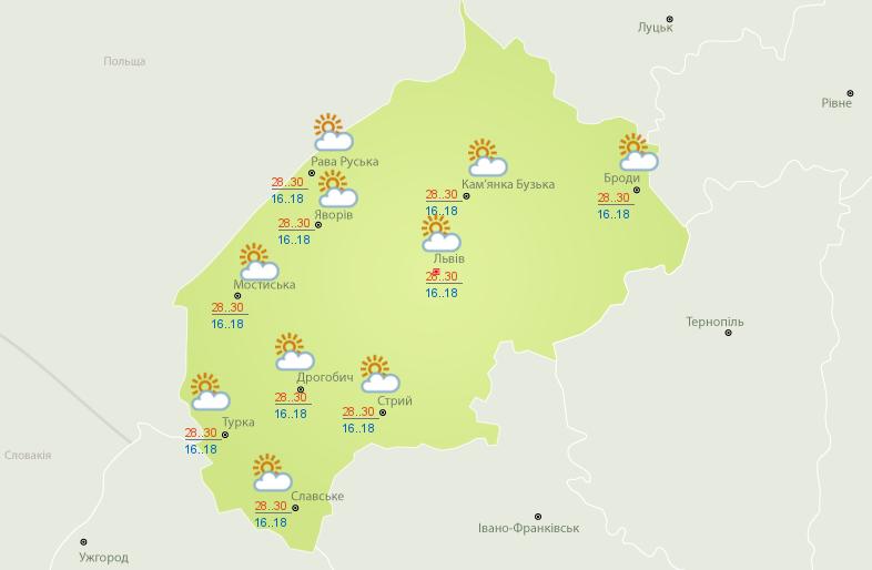 Прогноз погоди Львів 30 липня спеки грози