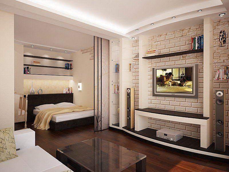 Зонирование однокомнатной квартиры с помощью стеклянных перегородок