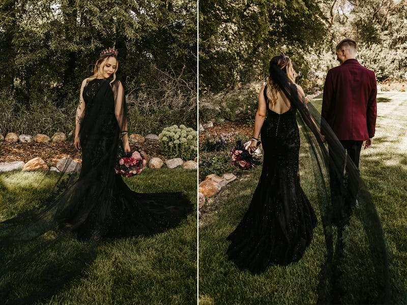 А ця наречена сама розфарбувала білу сукню у чорний колір