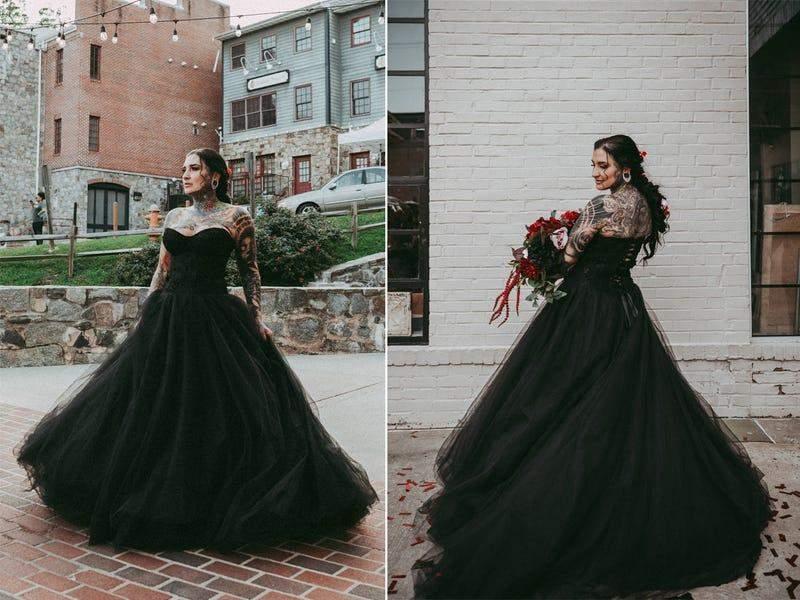 Чорна сукня чудово доповнює образ нареченої