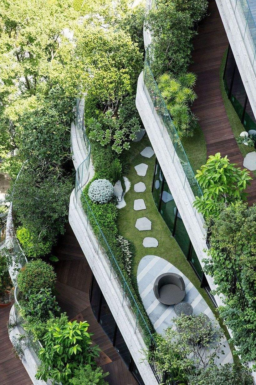 Проводити час на пишно насаджених балкнах буде неймовірно / Фото Designboom