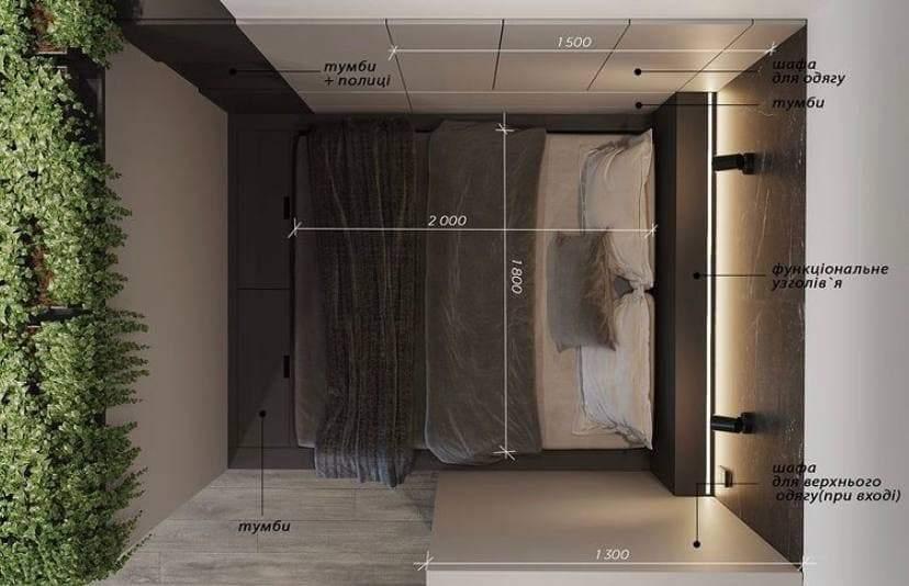 Схема розміщення меблів у маленькій спальні