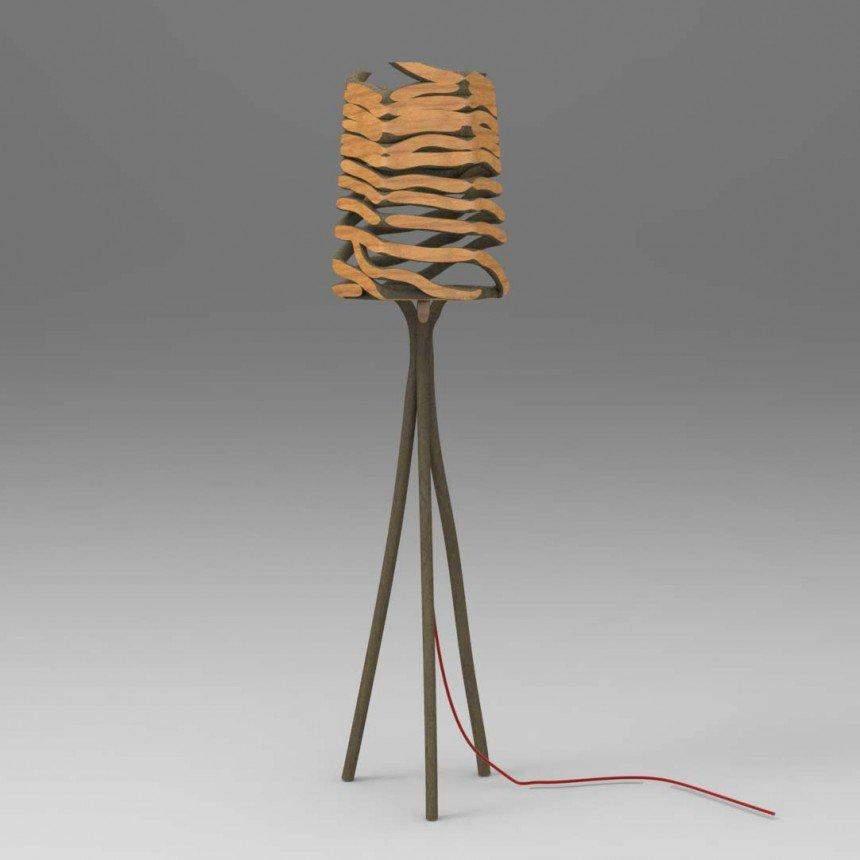 Лампа из цельного массива дерева