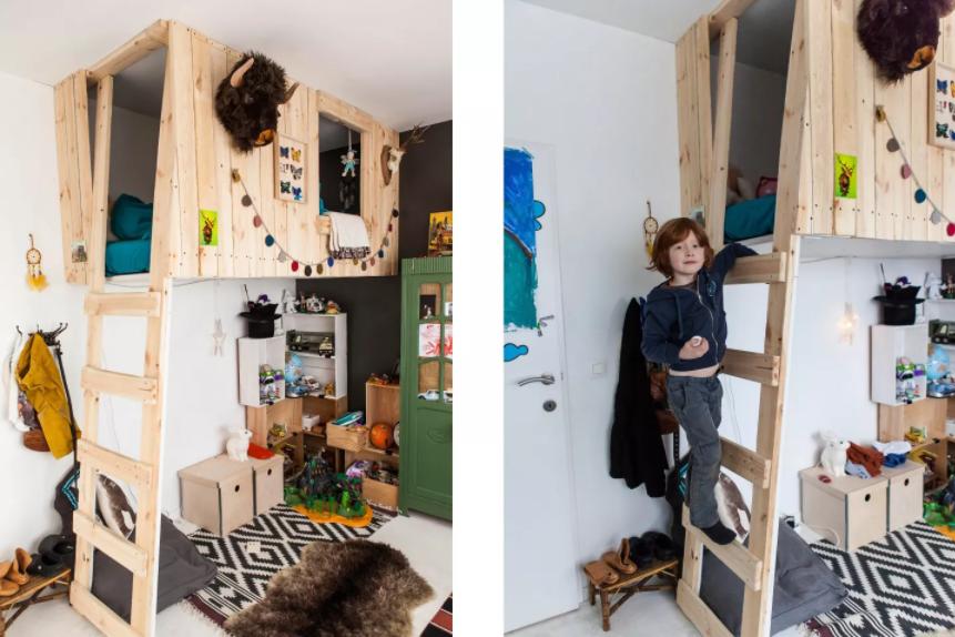Такая кровать экономит пространство, а также развивает фантазию и физические способности ребенка