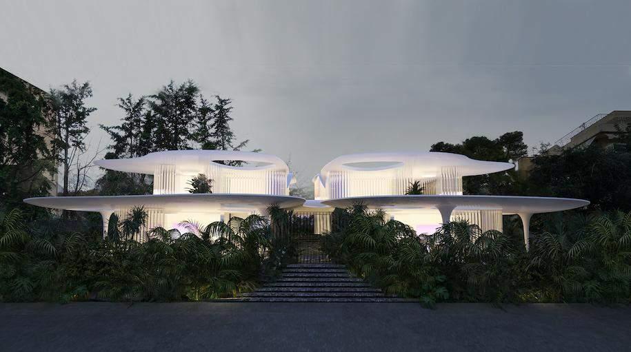 Диво-будівля у сутінках  / Фото designboom