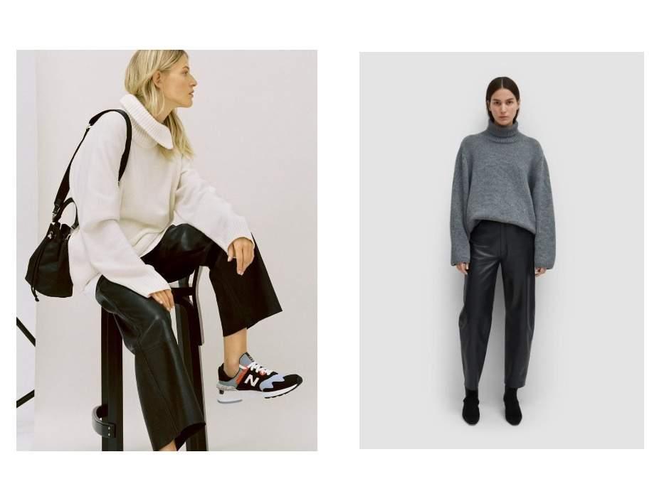 Трендова стилізація шкіряних штанів